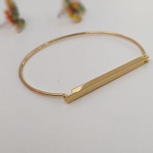 Simply Mahari Jewelry - Gold Tone Flat Bar Bracelet